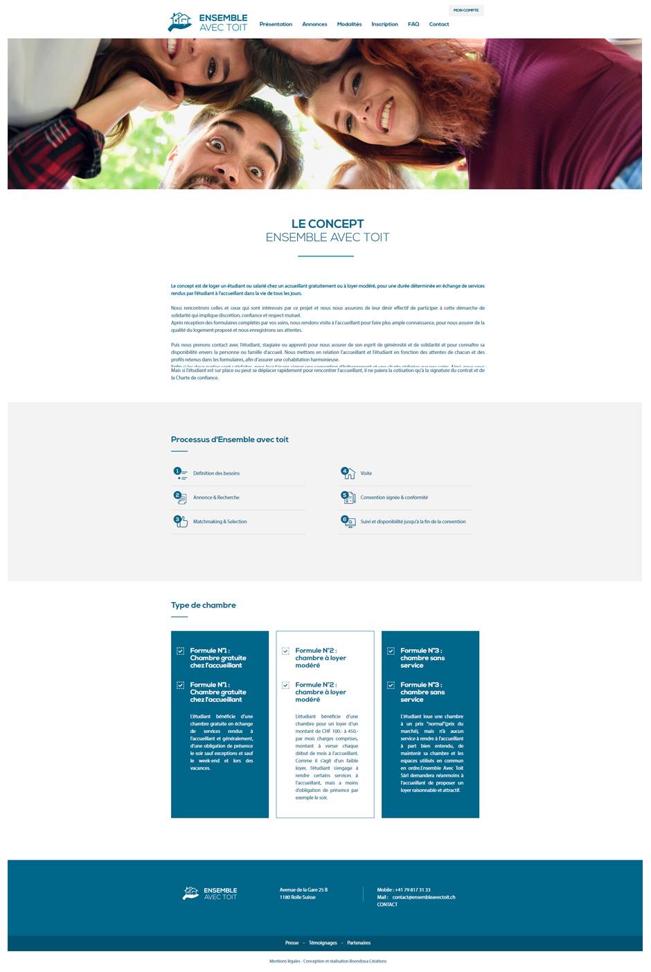 Page du concept site Ensemble avec toit
