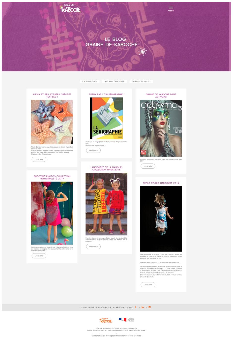 Page Blog site Graine de Kaboche