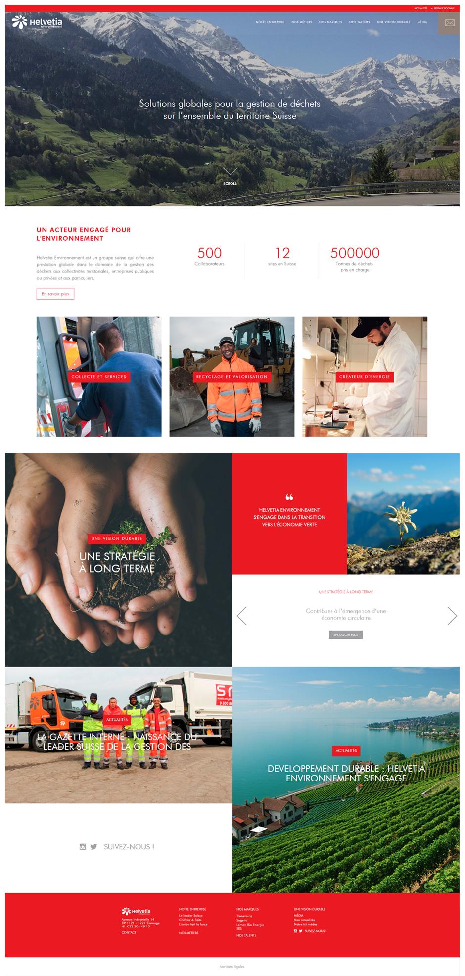 Homepage site Helvetia Environnement