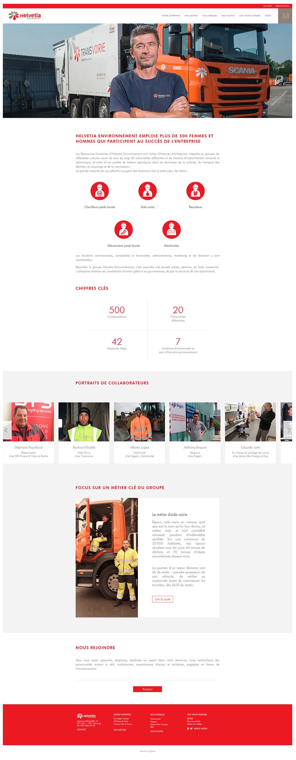 Page Nos talents site Helvetia Environnement